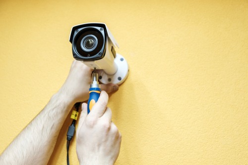 cctv is installed with yellow background